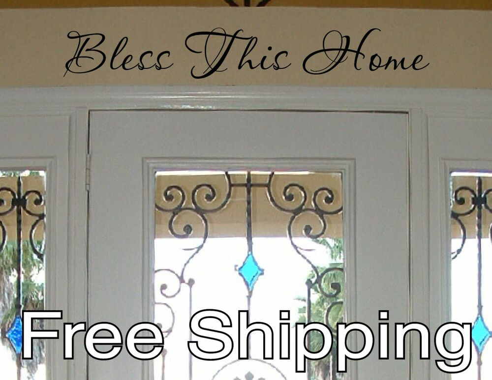 Bless This Home Vinyl Wall Decal Sticker Home Door Quote