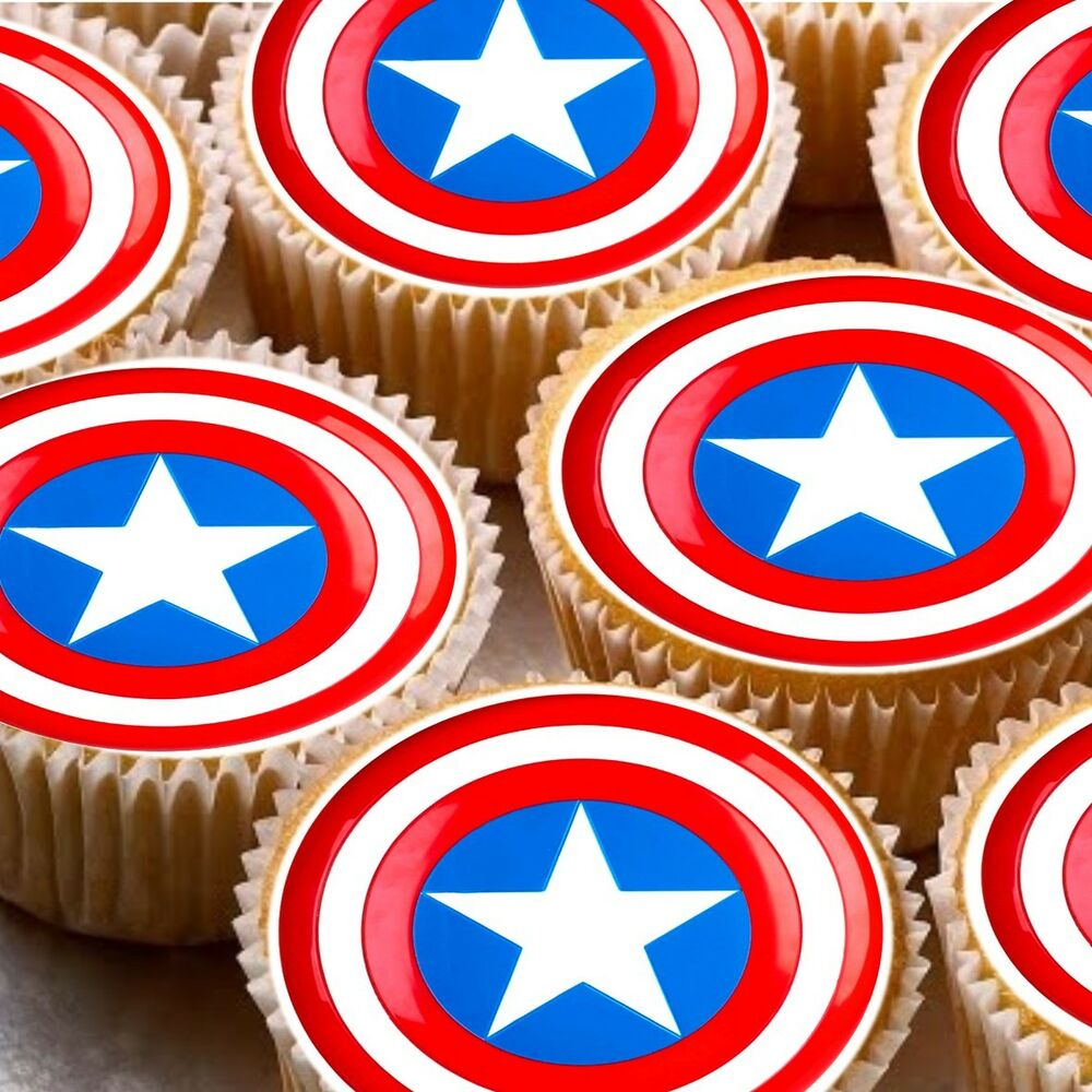 24 Edible cake toppers decorations Captain America shield ...