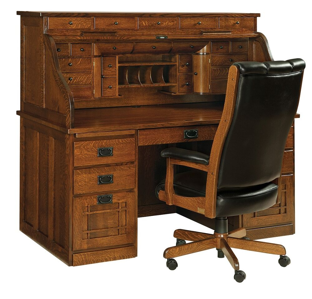 Office Furniture: Amish Handcrafted Mission Arts Crafts Roll Top Desk Office