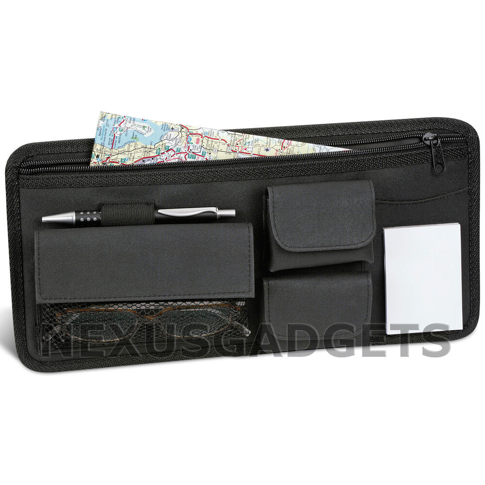 Car visor wallet pocket map compartment organizer valet holder sunglass caddy fs ebay - Notepad holder for car ...