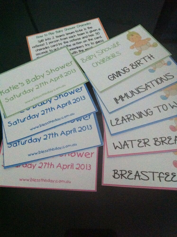 baby shower game baby charades personalised 20 guests ebay