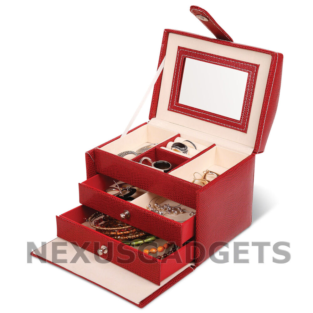 Jewelry Box Red Square Snake Skin Leatherette Girls Gift