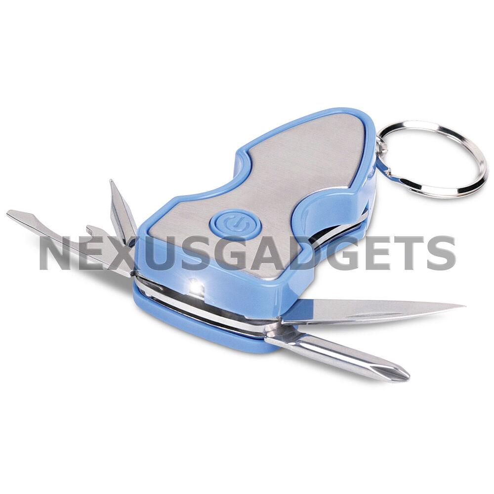 multi tool led flashlight keychain screwdriver pocket knife bottle opener blue ebay. Black Bedroom Furniture Sets. Home Design Ideas