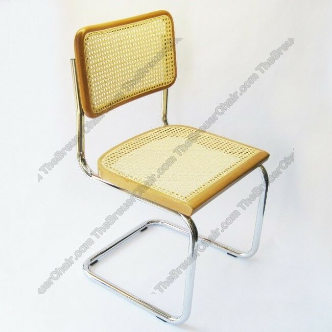 Cane side chair in honey oak w chrome finish made in italy ebay