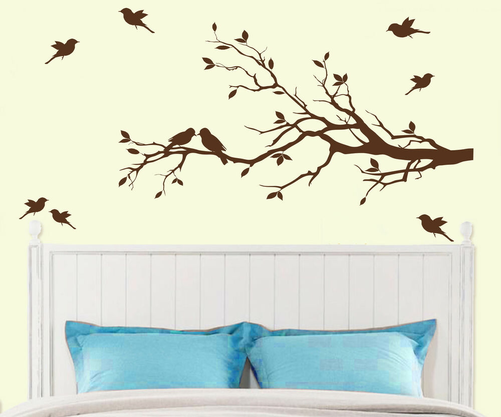 Tree branch with 10 birds wall decal deco art sticker for Bird and owl tree wall mural set