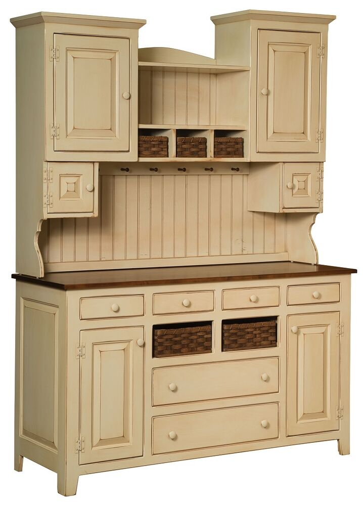 Amish sadies hutch primitive kitchen country farmhouse for Kitchen cabinets ebay