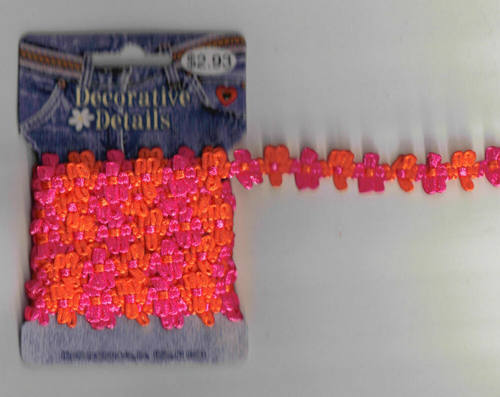 2 yards pink orange trim flower braid sewing fabric craft for Sewing and craft supplies