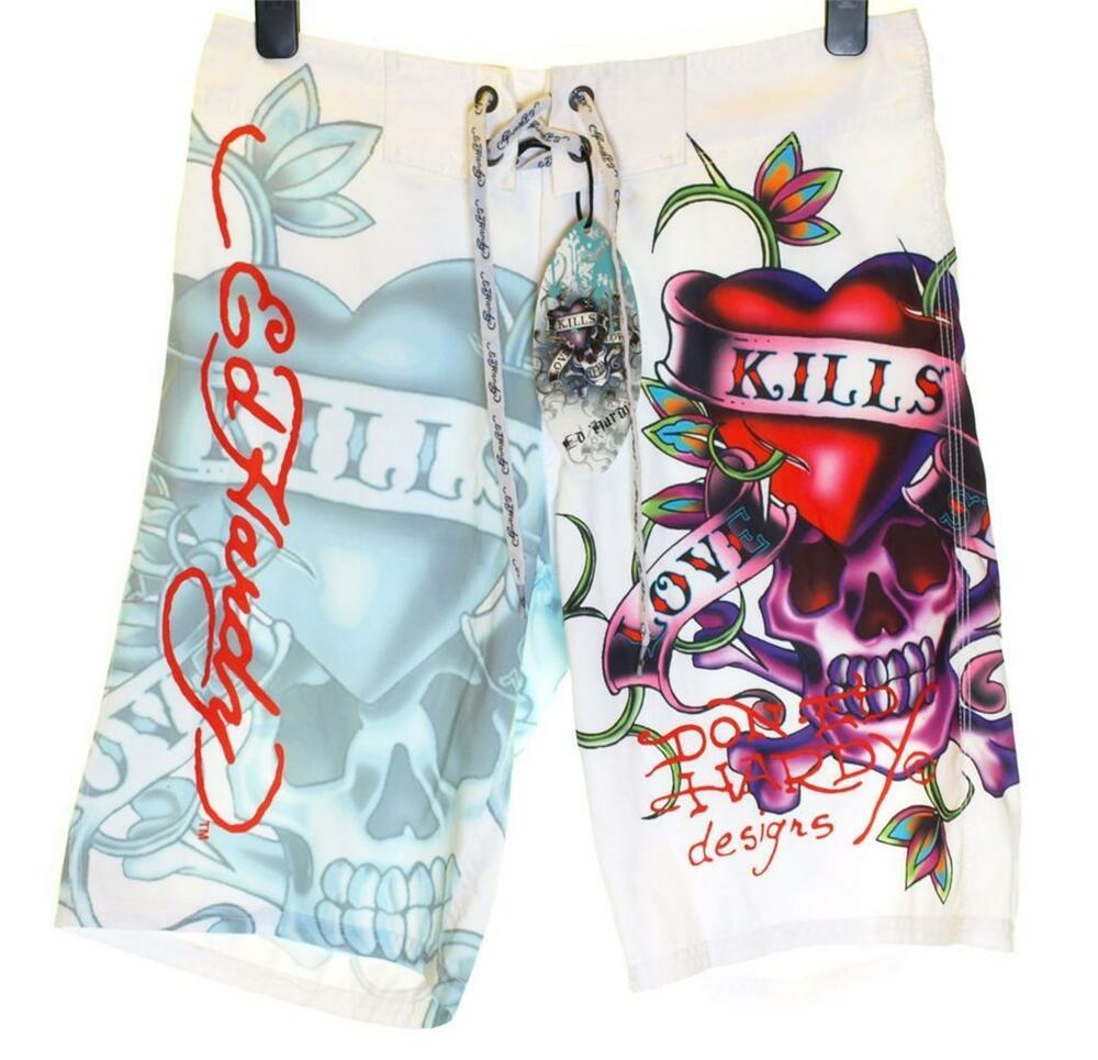 Bnwt Mens Ed Hardy Board Swim Surf Shorts Love Kills ...