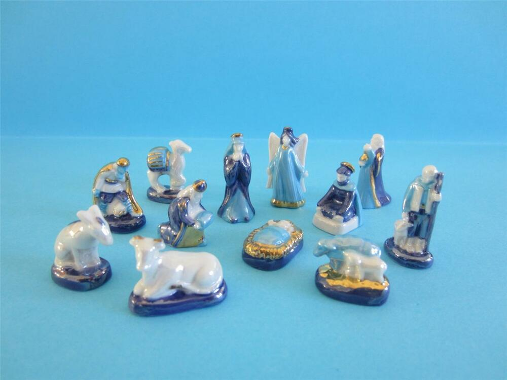 Porcelain blue gold trimmed amp pearlised nativity set 2011 ebay