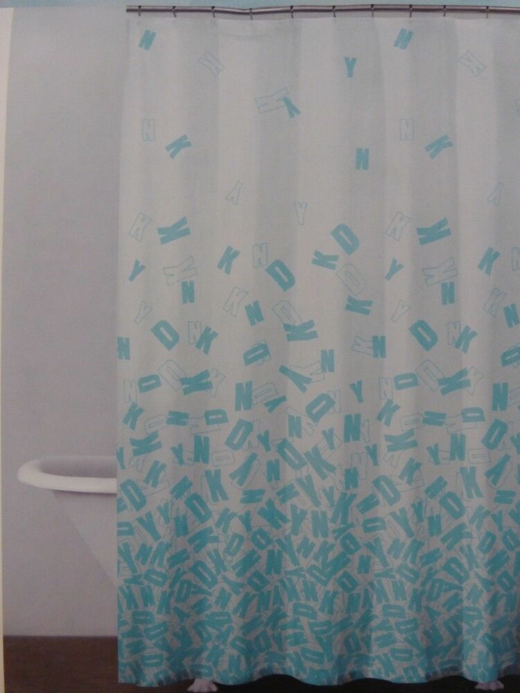 New DKNY Cluster Fabric Shower Curtain 72 X72 Aqua Blue And White