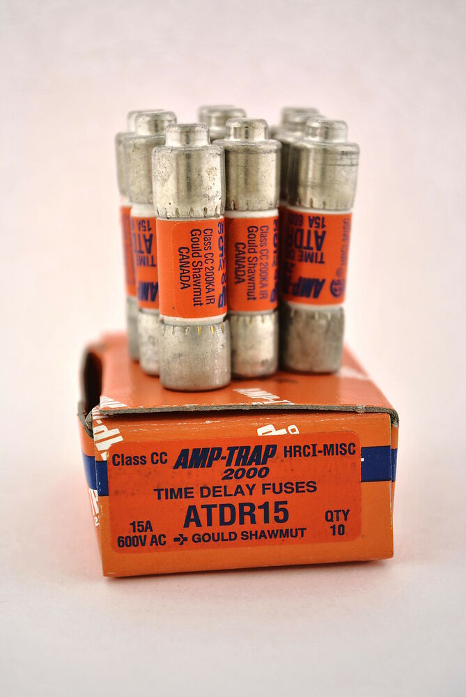 gould shawmut atdr15 box of 10 amp trap 2000 class cc time delay fuses 15a 600v ebay