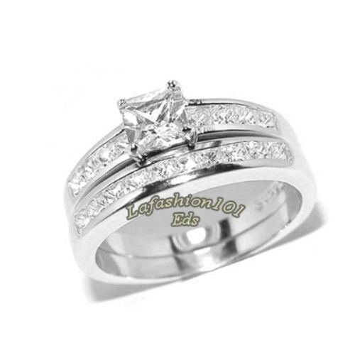 stainless steel wedding ring sets stainless steel never tarnish princess cut cz womens 7661