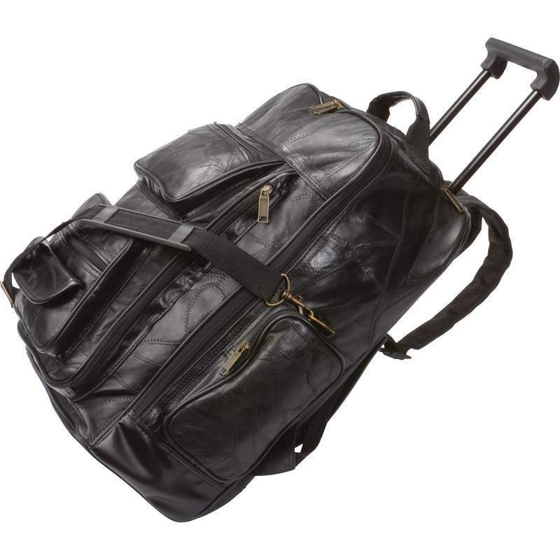 Black Leather Rolling Suitcase Bag Mens Carry On Backpack