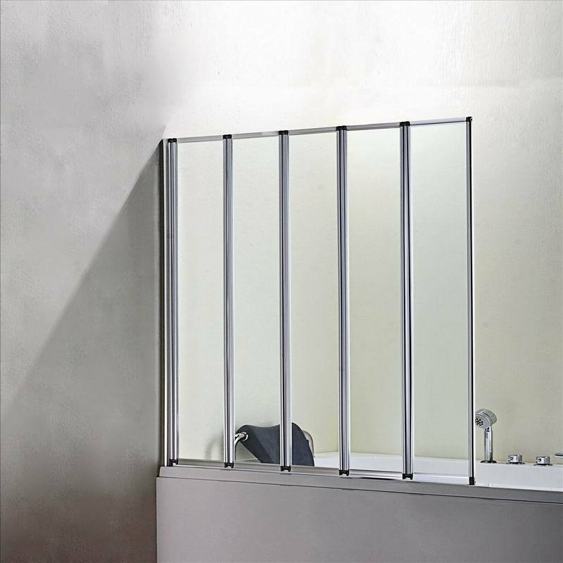 1200x1400mm 5 Fold Chrome Folding Shower Bath Screen Glass