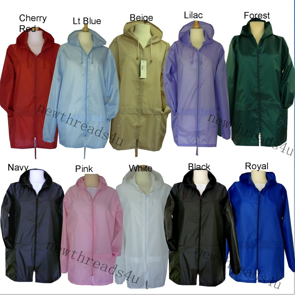 New Lightweight Womens Kagoul Rain Coat Jacket Mac Kagool Cagoule ...