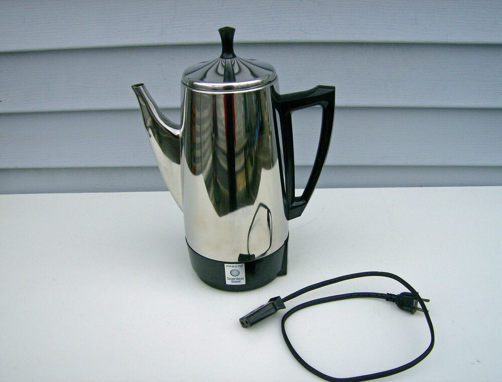 Vintage Presto 12 Cup Stainless Steel Electric Percolator Coffee Pot Complete eBay