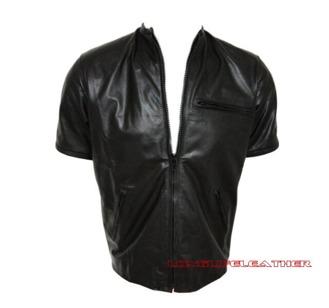 Mens soft black nappa leather short sleeve zipper shirt for Mens shirts with leather