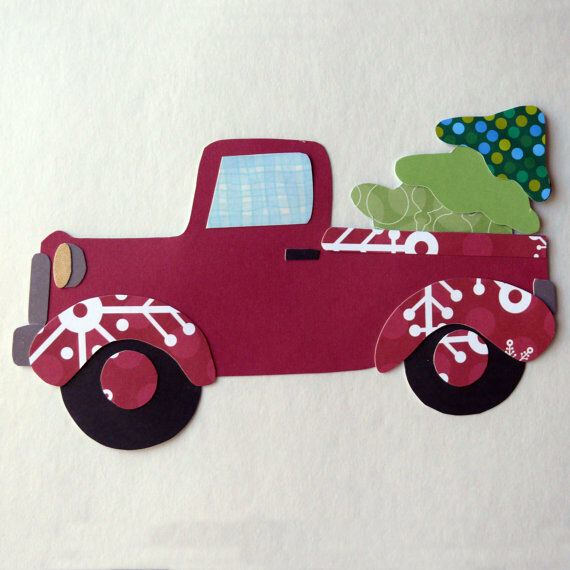 Retro Truck with Christmas Tree Quilting Applique Template Pattern DIY ...