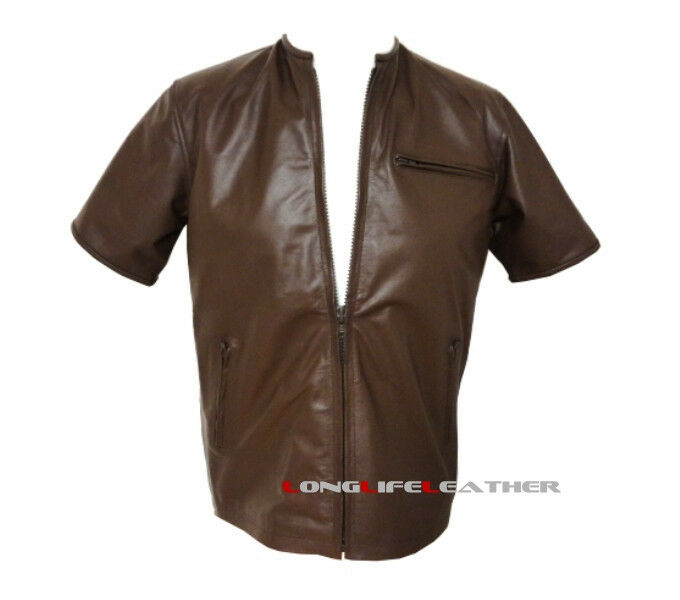 Mens Soft Brown Nappa Leather Short Sleeve Zipper Shirt
