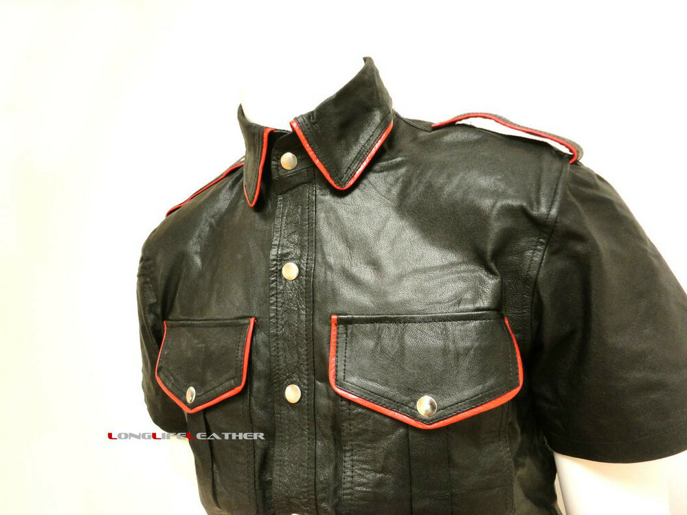 Mens Red Piping Black Leather Short Sleeve Shirt Brand New