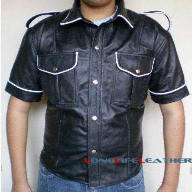 Mens white piping black leather short sleeve shirt brand for Mens white leather shirt
