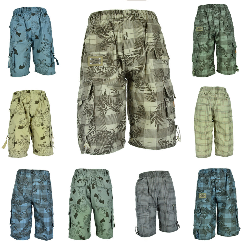 muster jungen kinder shorts bermuda 3 4 kurze hose sommer jungs knaben ebay. Black Bedroom Furniture Sets. Home Design Ideas