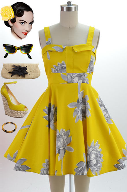 50s Style Yellow Lotus Flower Print Bombshell Pinup Full