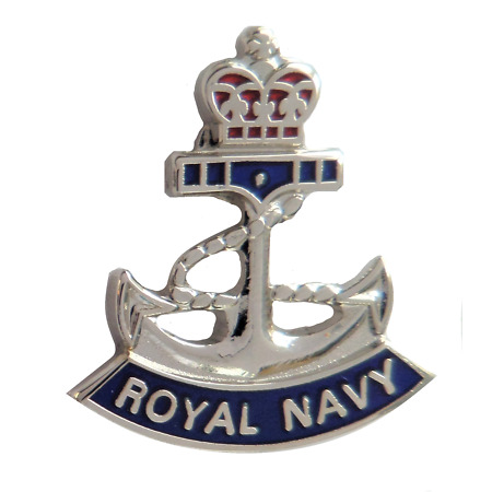 img-Royal Navy RN Crown and Anchor Pin Badge - MOD Approved