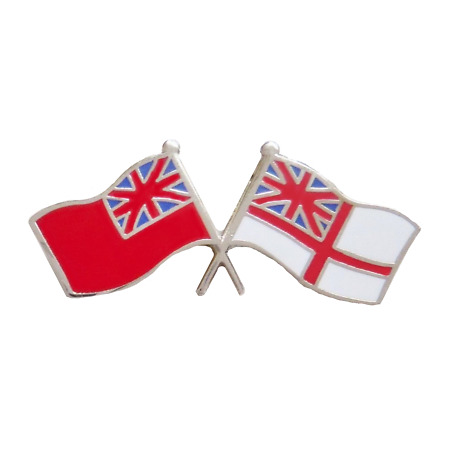 img-Royal Navy White Ensign & Merchant Navy Red Ensign Friendship Pin Badge