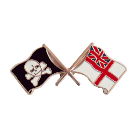 img-Royal Navy RN White Ensign & Jolly Roger Pin Badge - MOD Approved