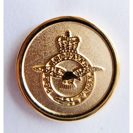 img-RAF Royal Air Force Crest Round Gilt Pin Badge - MOD Approved - M86
