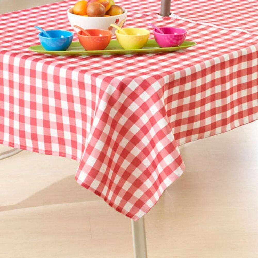 Patio Umbrella Covers With Zipper: RED & WHITE COUNTRY CHECK Fabric Patio Umbrella Hole