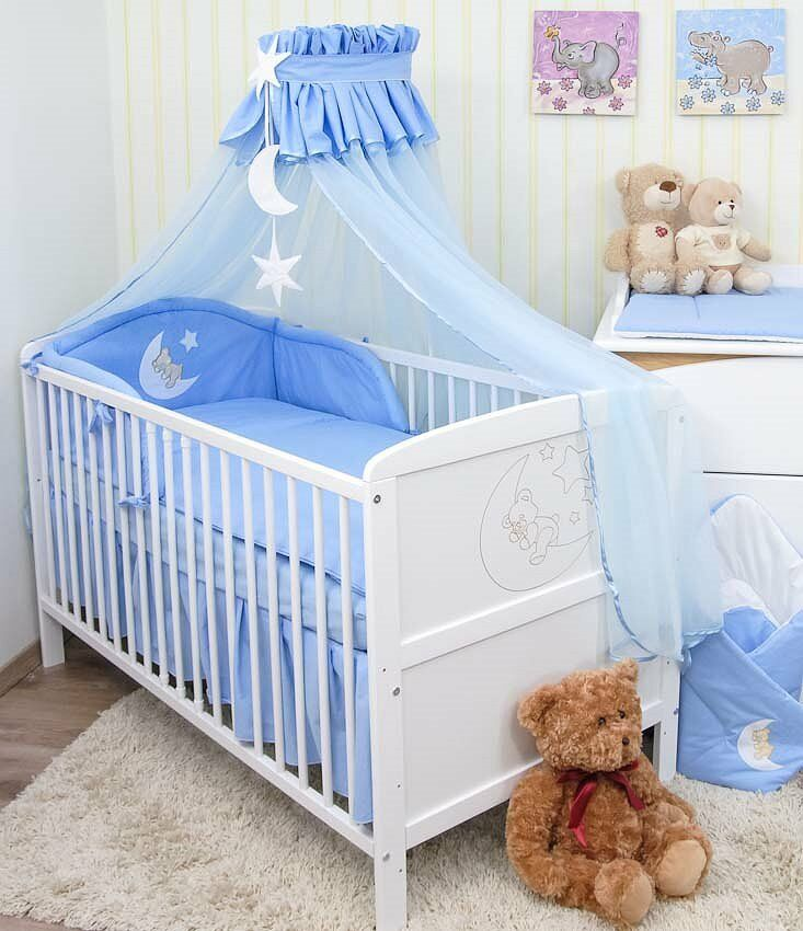 babybett kinderbett juniorbett wei mond 140x70 bettw sche bettset moskitonetz ebay. Black Bedroom Furniture Sets. Home Design Ideas