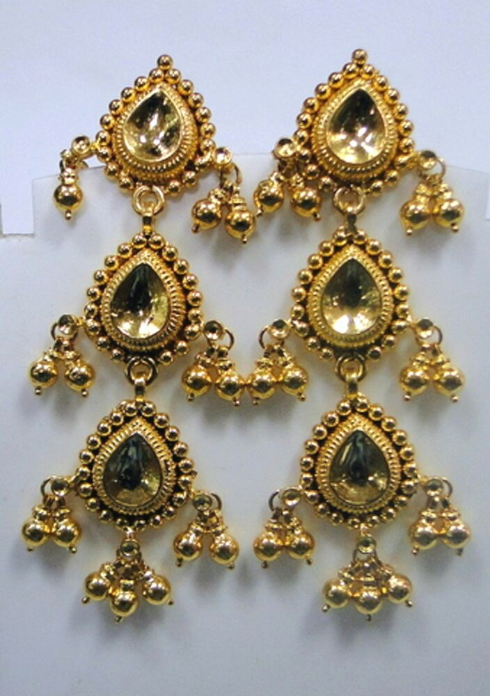 22k gold earrings india traditional design 22k gold earrings rajasthan india 221