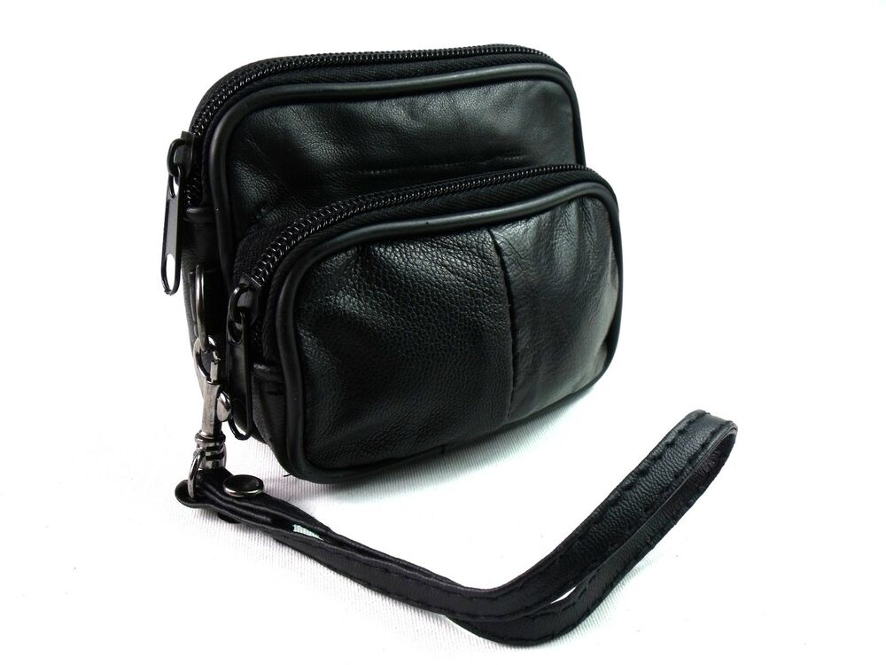 soft black real leather purse small bumbag wallet