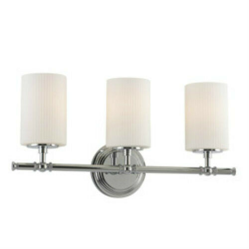 Chrome 3-Light Vanity Fixture Bathroom Wall Sconce Hall Lamp Glass Hanging Shade eBay