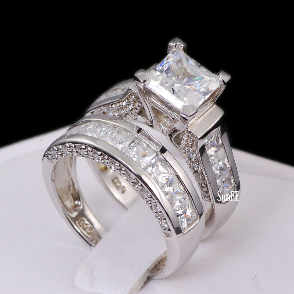 sterling silver 14k white gold princess diamond cut engagement wedding ring set - White Gold Wedding Rings Sets