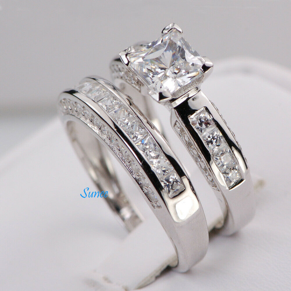 Sterling silver 14k white gold princess diamond cut for Ebay diamond wedding ring sets