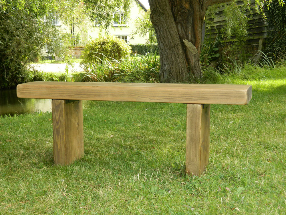 Chunky Rustic Solid Pine Garden Bench Seat Wooden Chair Ebay