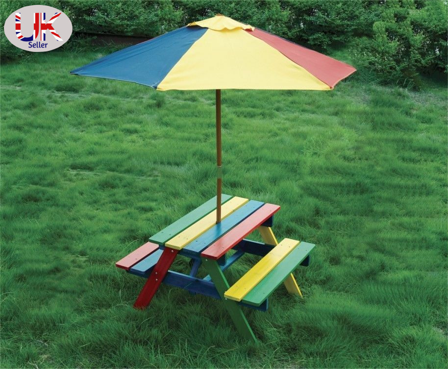 Wooden Rainbow Garden Picnic Table Bench Parasol Set Kids Ebay