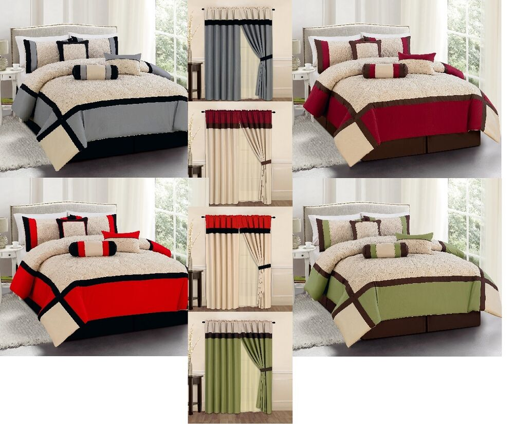 15Pc King Queen Bed In A Bag Comforter Set Sage/Red