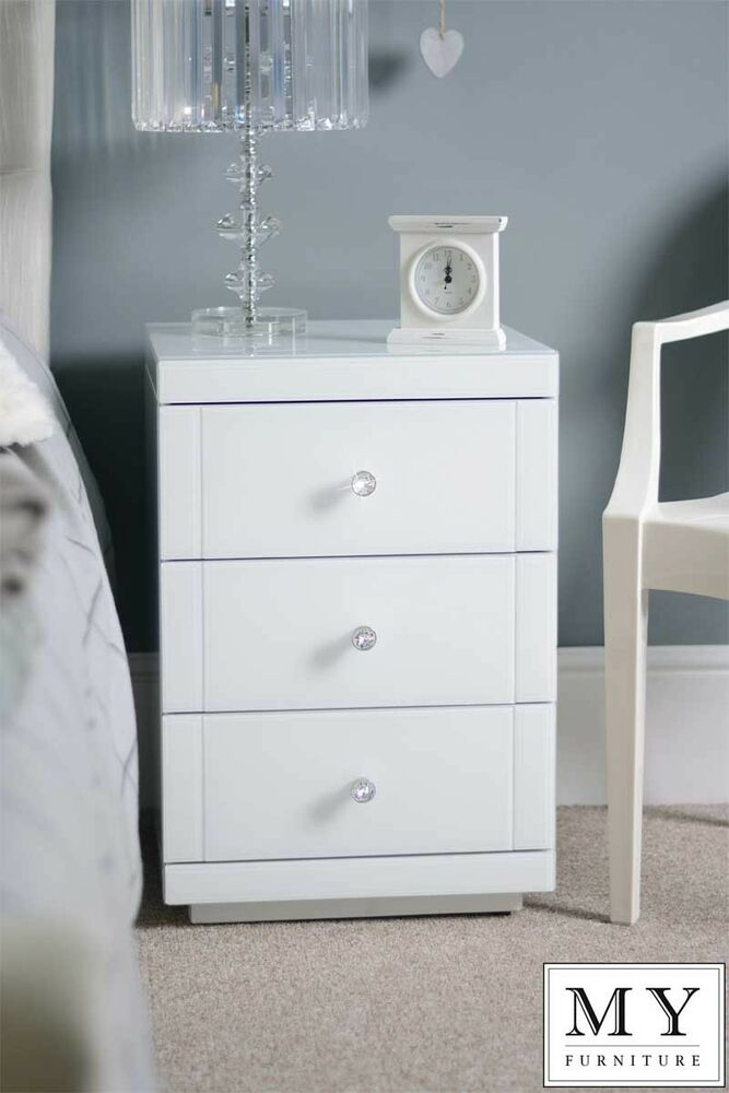 2 X White My Furniture Mirrored Glass High Gloss Bedside