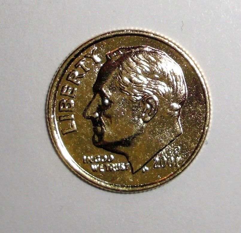 2001 Us 24k Gold Plated Dime 10 Cents Coin Ebay