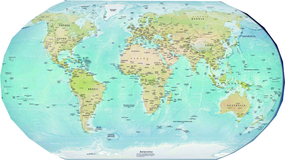 laminated PHYSICAL WORLD MAP small size 15X22 5 inches educational poster new