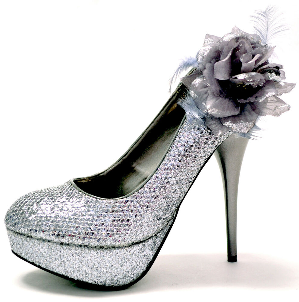 New women39s shoes stilettos flower pewter glitter party for Pewter dress shoes for wedding