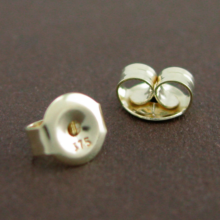 genuine 9ct solid yellow gold butterfly earring backs 5mm