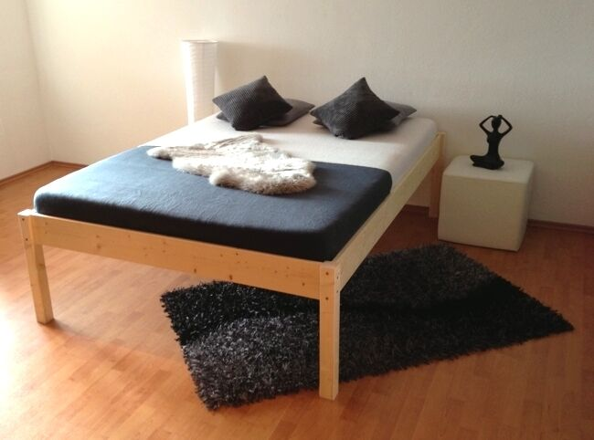erh htes bett holz massivholzbett holzbett seniorenbett bettgestell aus brd ebay. Black Bedroom Furniture Sets. Home Design Ideas