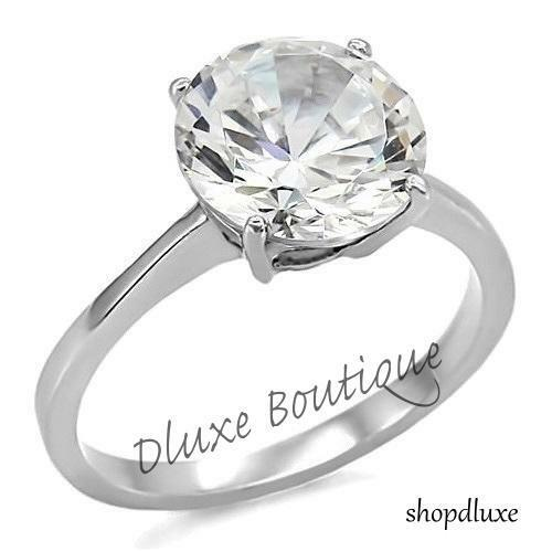 3.85 Ct Round Cut CZ Solitaire Stainless Steel Engagement ...
