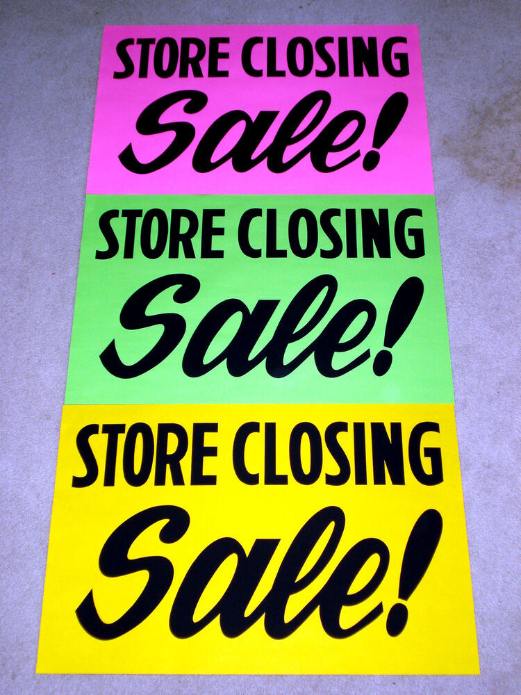 3 Store Closing Sale Window Signs 2x3 Pink Green Yellow