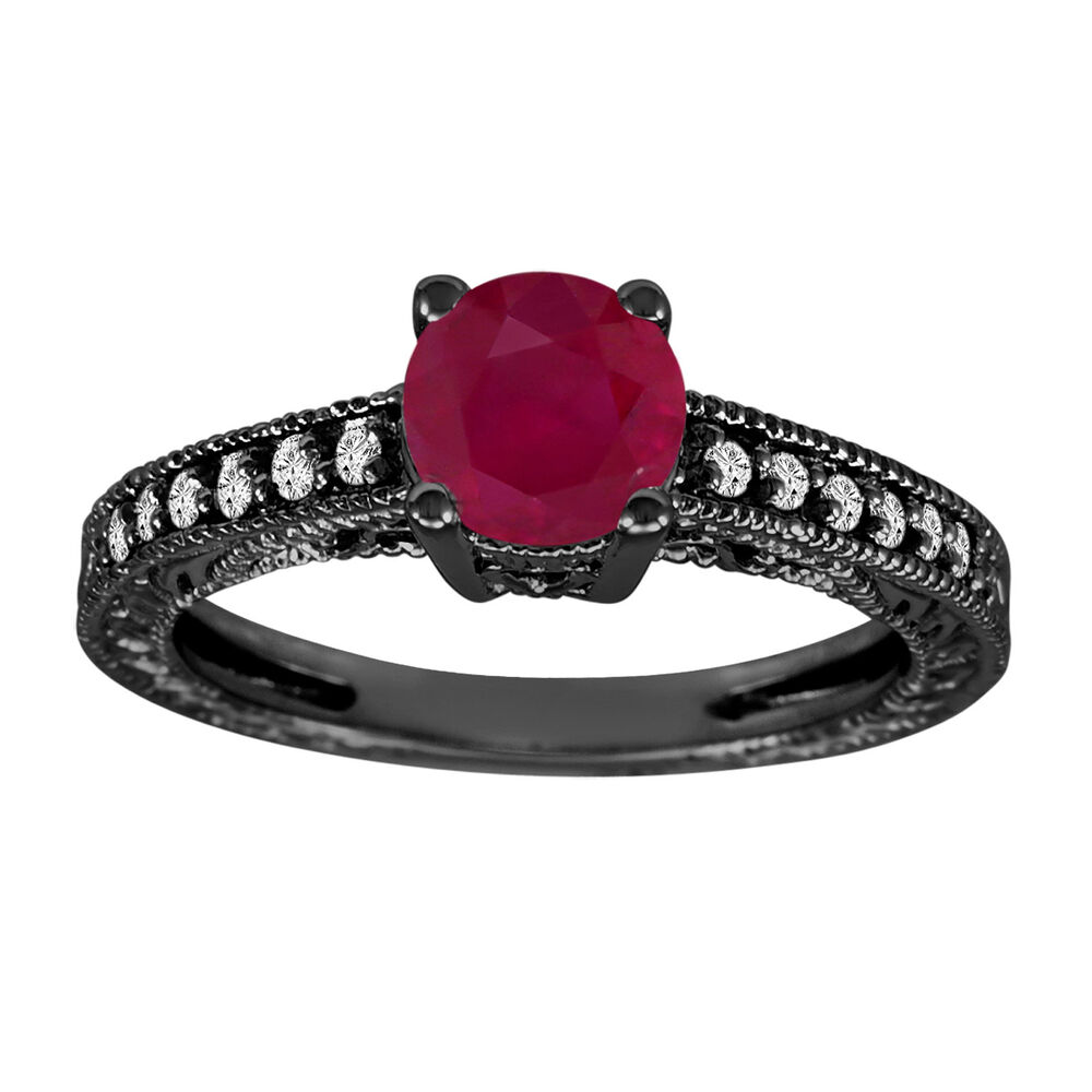 VINTAGE STYLE 14K BLACK GOLD 1 14 CARAT RUBY AND DIAMONDS ENGAGEMENT RING